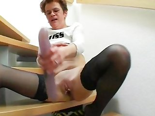 Granny has some fun in the Stairs