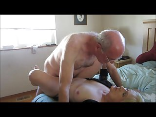Horny older couple having vaginal sex