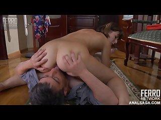 Russian anal slut gives ass to her father