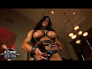 Must see freaky muscle milf with strap on and huge clit