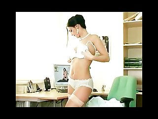 Super hot naughty secretary strips masturbates