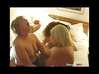 Mature housewives triple fun with young man