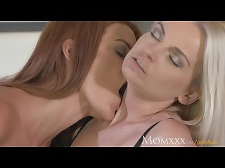 Mom big tits lesbian wraps her long legs round pussy licking girlfriend