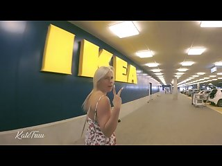 Very risky public 4k ikea Shopping blowjob fuck and cum swallow