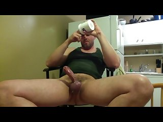Straight guy plays with his big cock