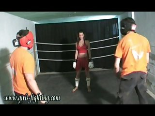 Karate girl vs 2 men in fighting match