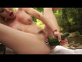 Blonde fuck pussy piercing cucumber