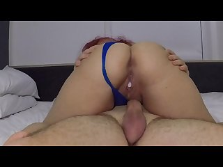 Busty girl gets creampied in hotel room