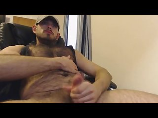 Hot hairy hunk wanks and cums
