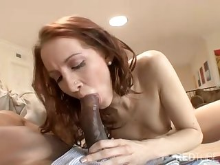 Hot redhead becomes addicted to black cock