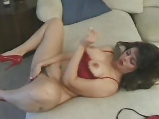 Hairy mature has sex in red heels then gets cum in her mouth