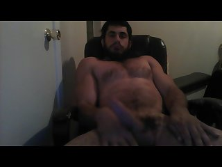 Bodybuilder jerking off at night