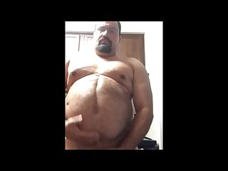 Fat guy jerking off in kitchen cums everywhere