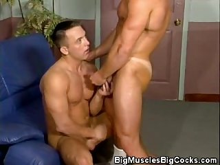 Rock hard abs muscle men fucking and cumshots