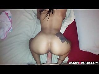 Asian babe with big butt gets doggystyled