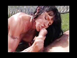 Valentina sucks a huge cock outdoors