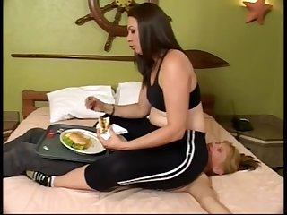 Lesbian Lunch on her slavegirls Chest