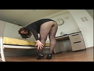 Japanese Av model shame voyeur hairy pussy through pantyhose 13