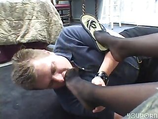 Ebony chick has white guy going wild for her feet
