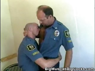 Hairy cops make out and sucks cock