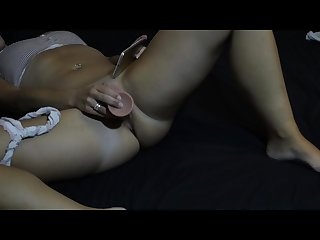 Caught masturbating and watching porn. Watching ffm threesome and creampies