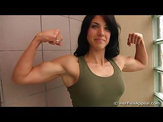 Cute girl flexes arms 2