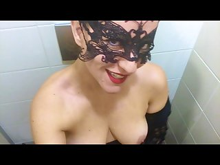 Sexy naughty joi with countdown in a public toilet of a university