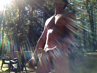 Smoking hunk cumming in the woods