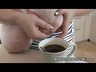 Busty roxanne miler milking from her tits to caffe