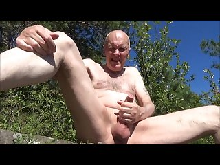 Grandpa wanking peeing and sucking outdoor