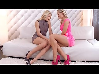 Hot lesbian blonde with miniskirt and sexy legs