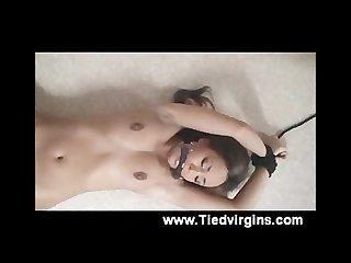 Teen tied up and to cum