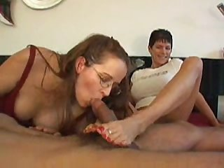 Double mature footjob