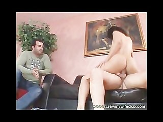 Hot black haired wife screwed