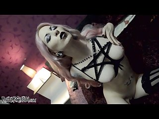 Razorcandi Gothic slut with huge tits fucks fat blasphemy dildo