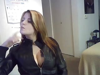 Smoking fetish leather goddess loves her wicked addiction