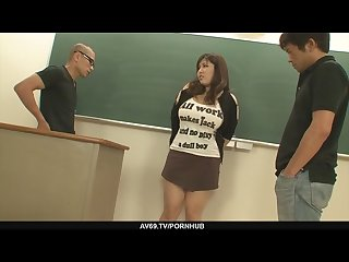 Plump and busty student fucked by two hung and horny teachers