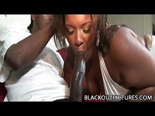 Amber swallows fat bbw black babe riding a skinny black cock