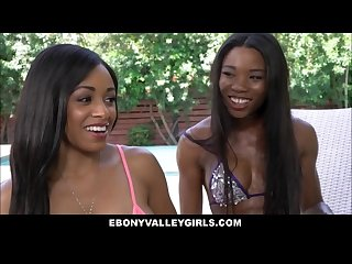 Hot rich athletic black teen stepdaughter and bff fuck white stepdad