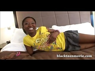 Cute ebony teen fucked in hotel room