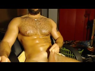 Hairy guy blows a load in his messy room