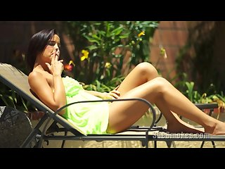 Cute teen dillion harper smoking a cigarette outside