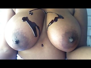 Big black tits covered in chocolate