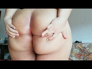 Cute chubby Trans girl tweaks fat ass and plays with dildo