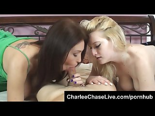 Sexy milf charlee chase teaches cute blonde teen to suck a big cock