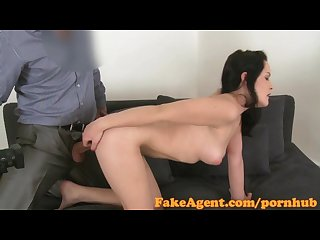 Fakeagent hot amateur with raven hair takes juicy creampie in casting