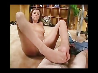 Kinky nikita denise gives a nylon footjob