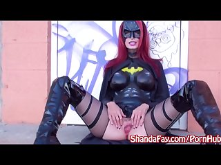 Batgirl shanda fay gives public cosplay blowjob