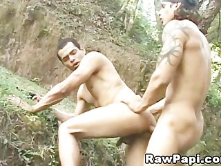 Men in uniform outdoor anal sex