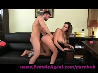Femaleagent massive cumshot across marvelous tits
